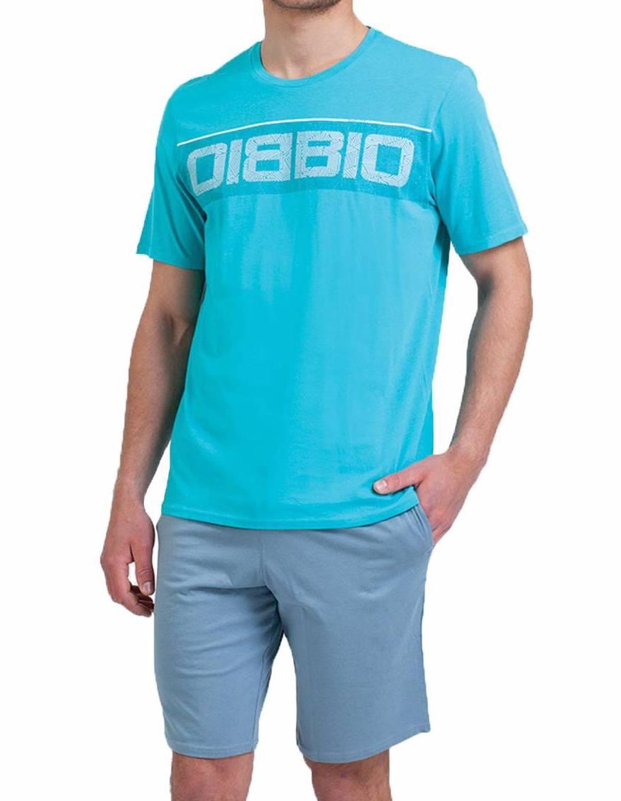 Pyjama court Athena en coton biologique : tee-shirt col rond bleu turquoise et short bleu acier