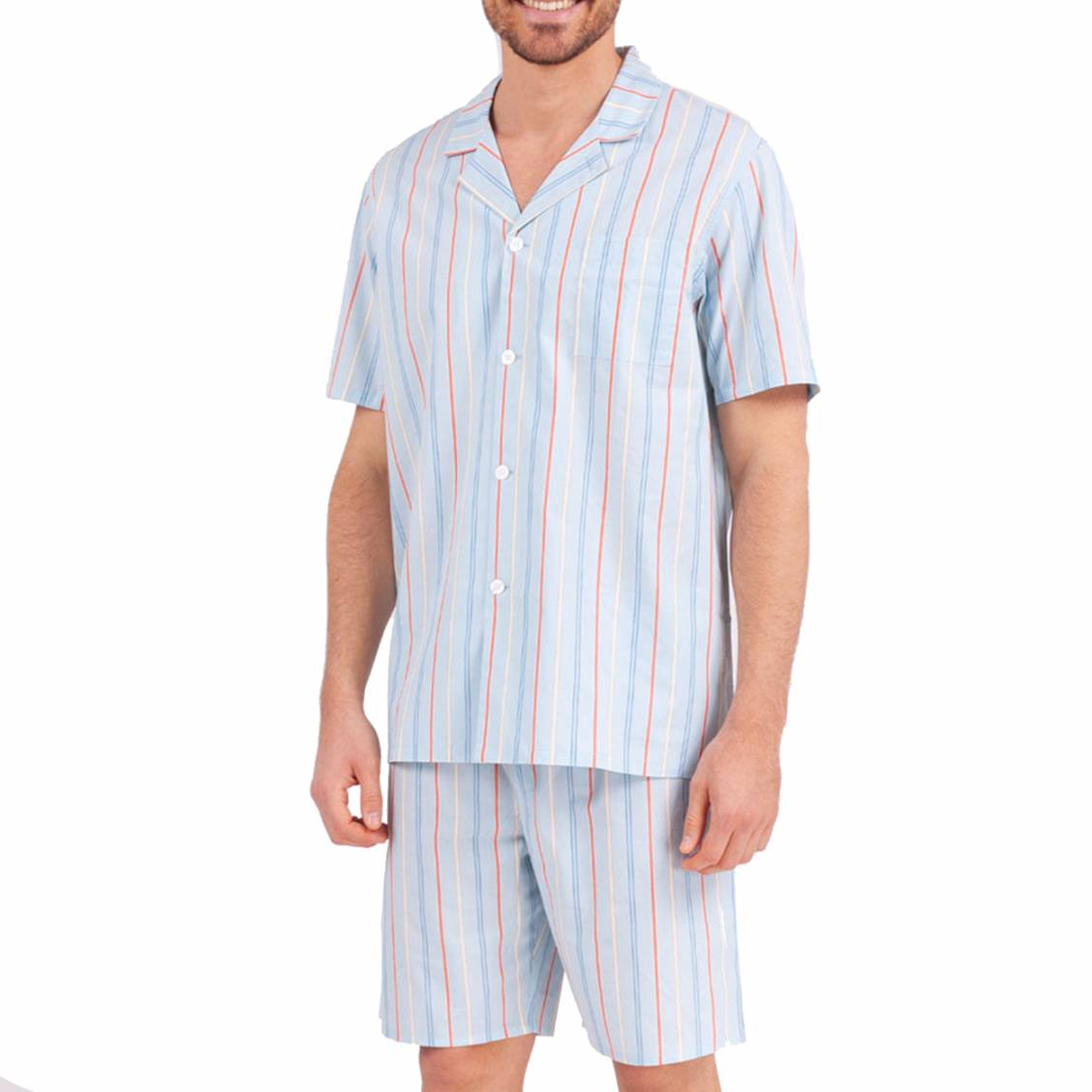 Pyjama court col chemise Eminence en coton bleu ciel rayé