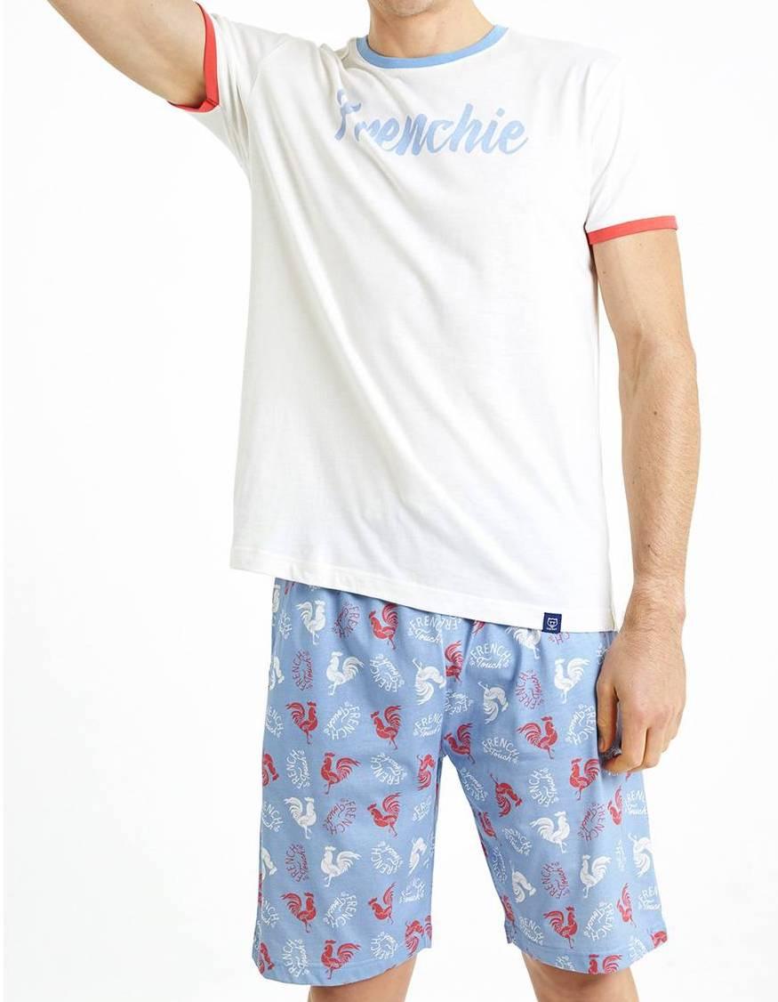 Pyjama court Arthur Frenchy en coton : tee-shirt blanc et short bleu ciel à motifs coqs