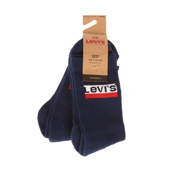 Lot de 2 paires de chaussettes épaisses Levi's en coton mélangé bleu marine brodées