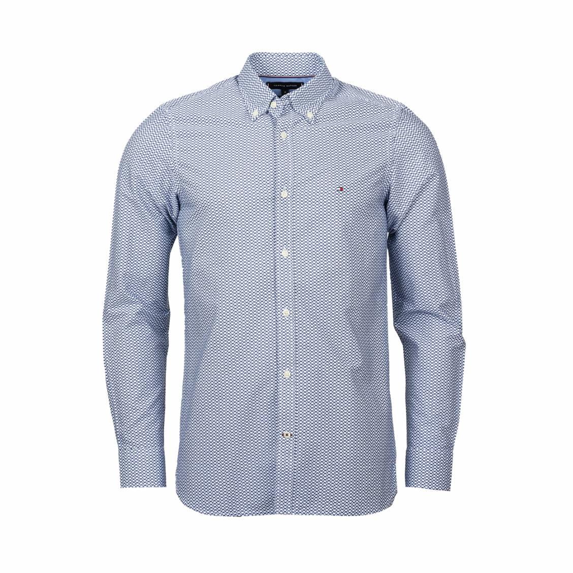 Chemise coupe droite Tommy Hilfiger en coton blanc à motifs graphiques bleu marine