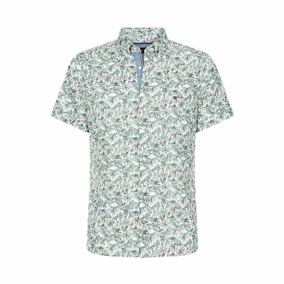 Chemise manches courtes coupe ajustée Tommy Hilfiger en coton et lin blanc à imprimés verts et jaunes