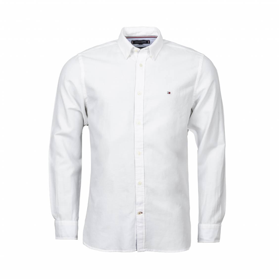 Chemise coupe ajustée Tommy Hilfiger en coton et lin blanc