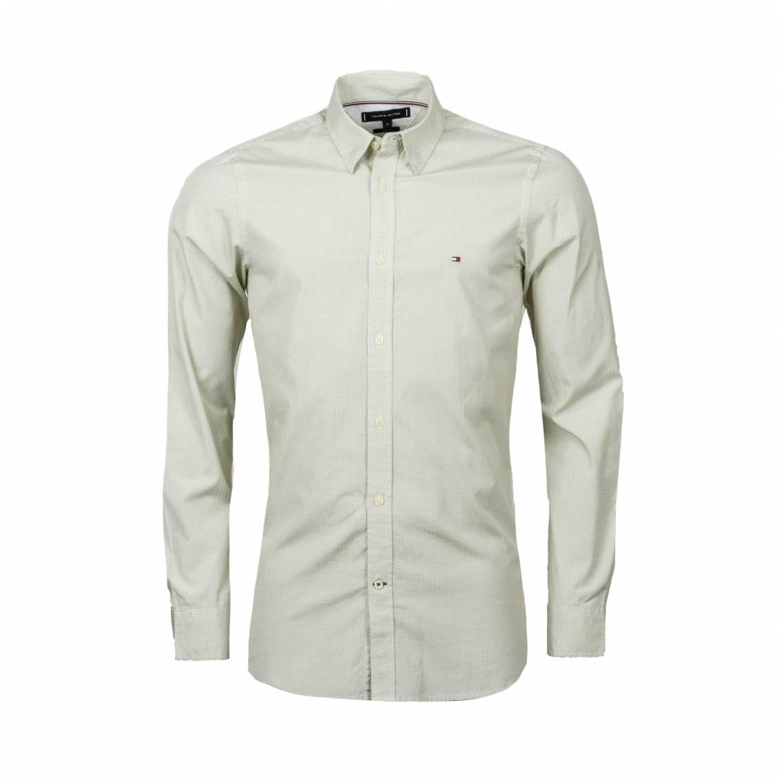 Chemise coupe cintrée Tommy Hilfiger en coton à micros motifs blancs et verts