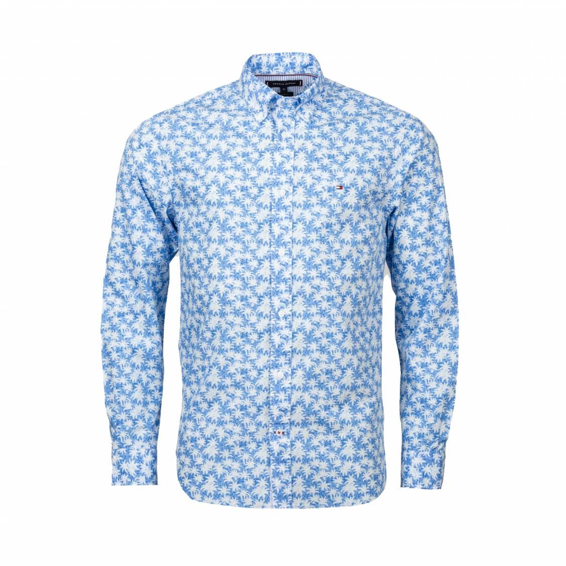 Chemise coupe ajustée Tommy Hilfiger en coton bleu azur à feuilles blanches