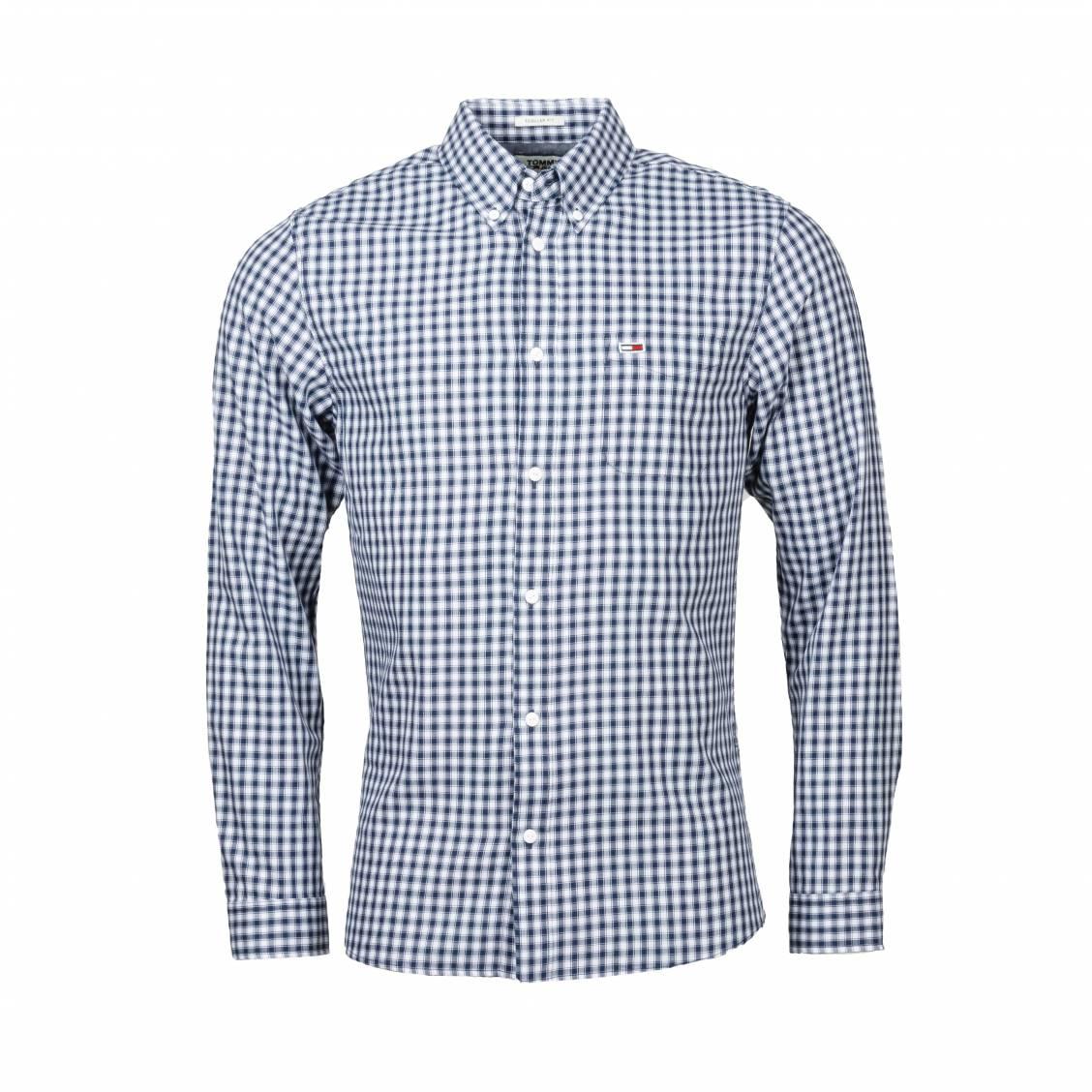 Chemise ajustée Tommy Jeans Gingham en coton à carreaux bleu marine et blancs