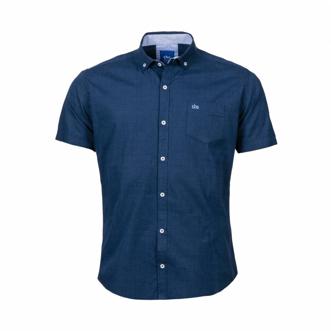 Chemise ajustée manches courtes TBS Caverne en coton bleu marine à micro motifs bleu ciel