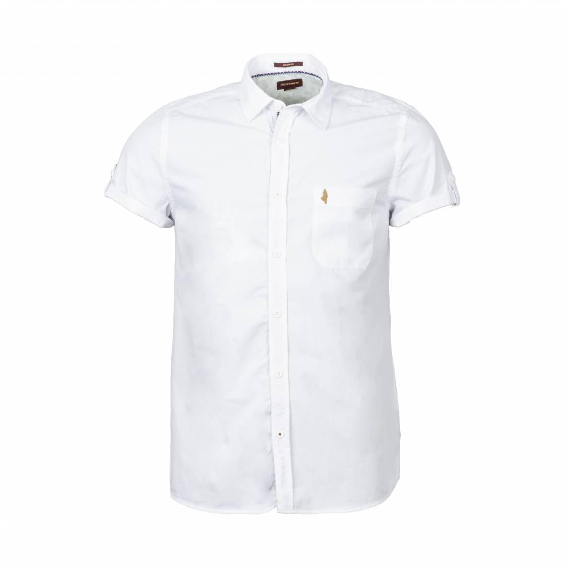 Chemise manches courtes coupe ajustée MCS en coton blanc