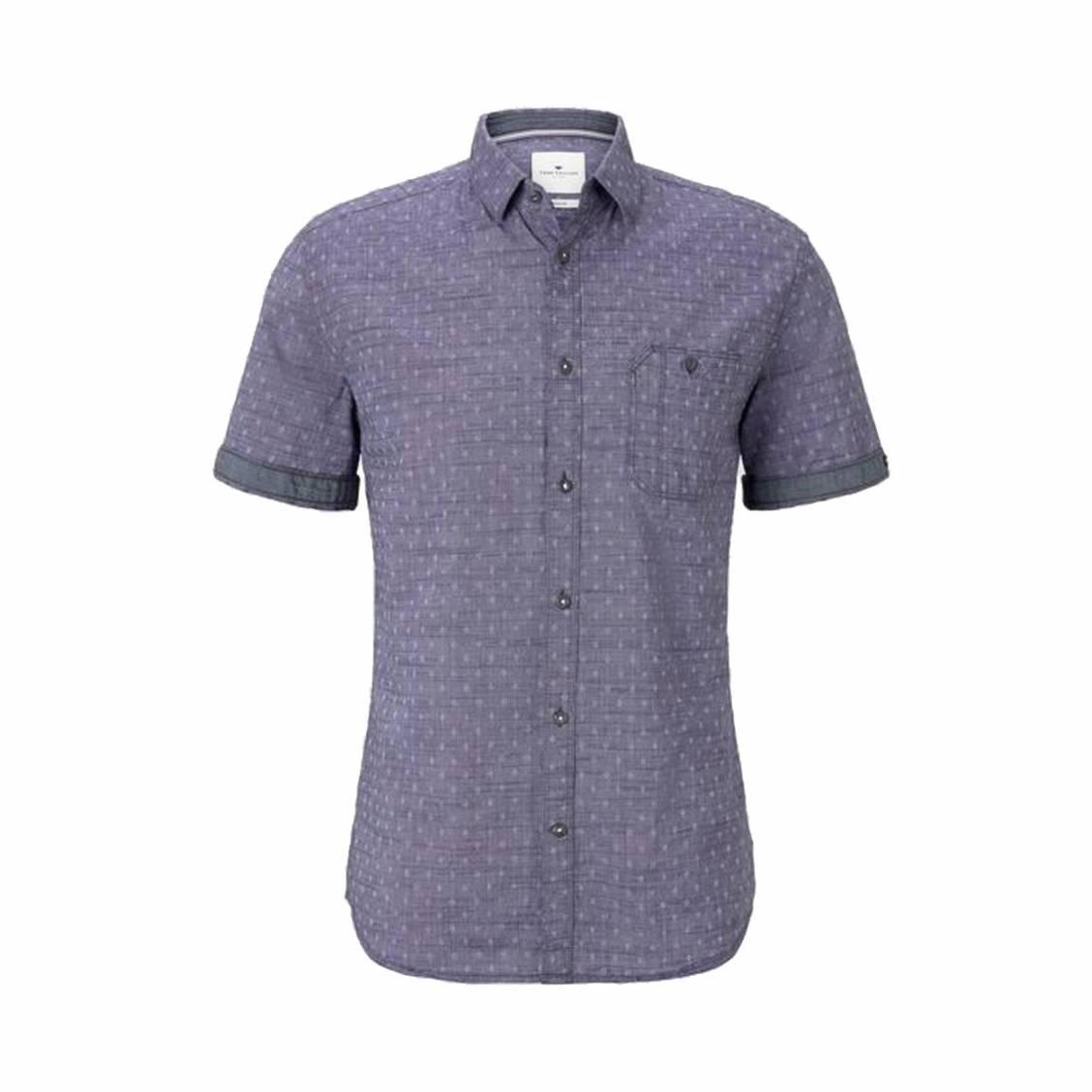 Chemise ajustée manches courtes Tom Tailor en coton bleu indigo à micros motifs blancs