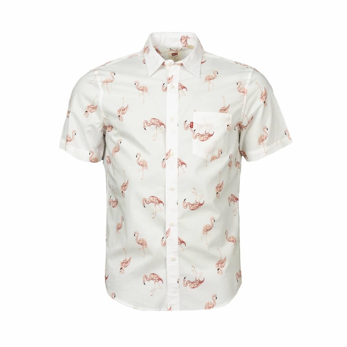 Chemise coupe ajustée manches courtes Levi's Sunset Flamingo en coton blanc à motifs flamants roses