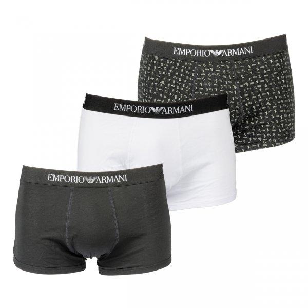 Lot de 3 boxers Emporio Armani en coton noir, noir logotypé et blanc