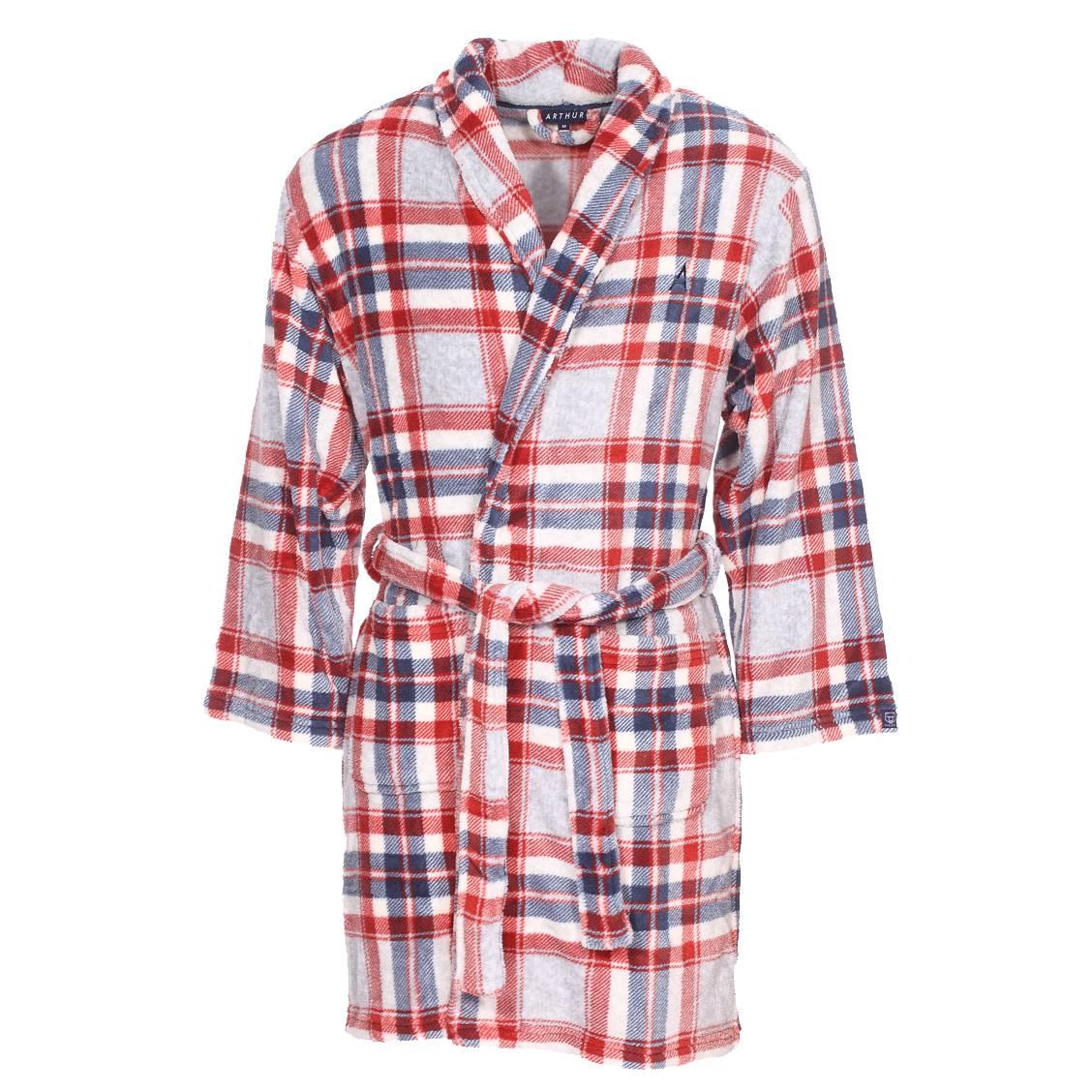 Robe de chambre Arthur Ice Gregor à carreaux gris chiné, rouges, bleus et blancs