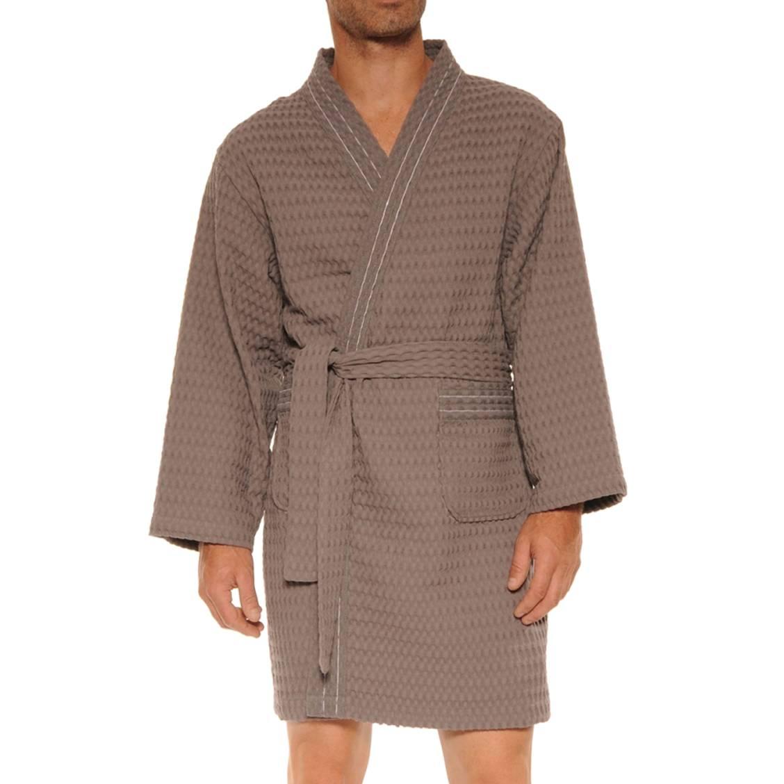 Kimono Christian Cane Oskar en coton gris à tissage matelassé