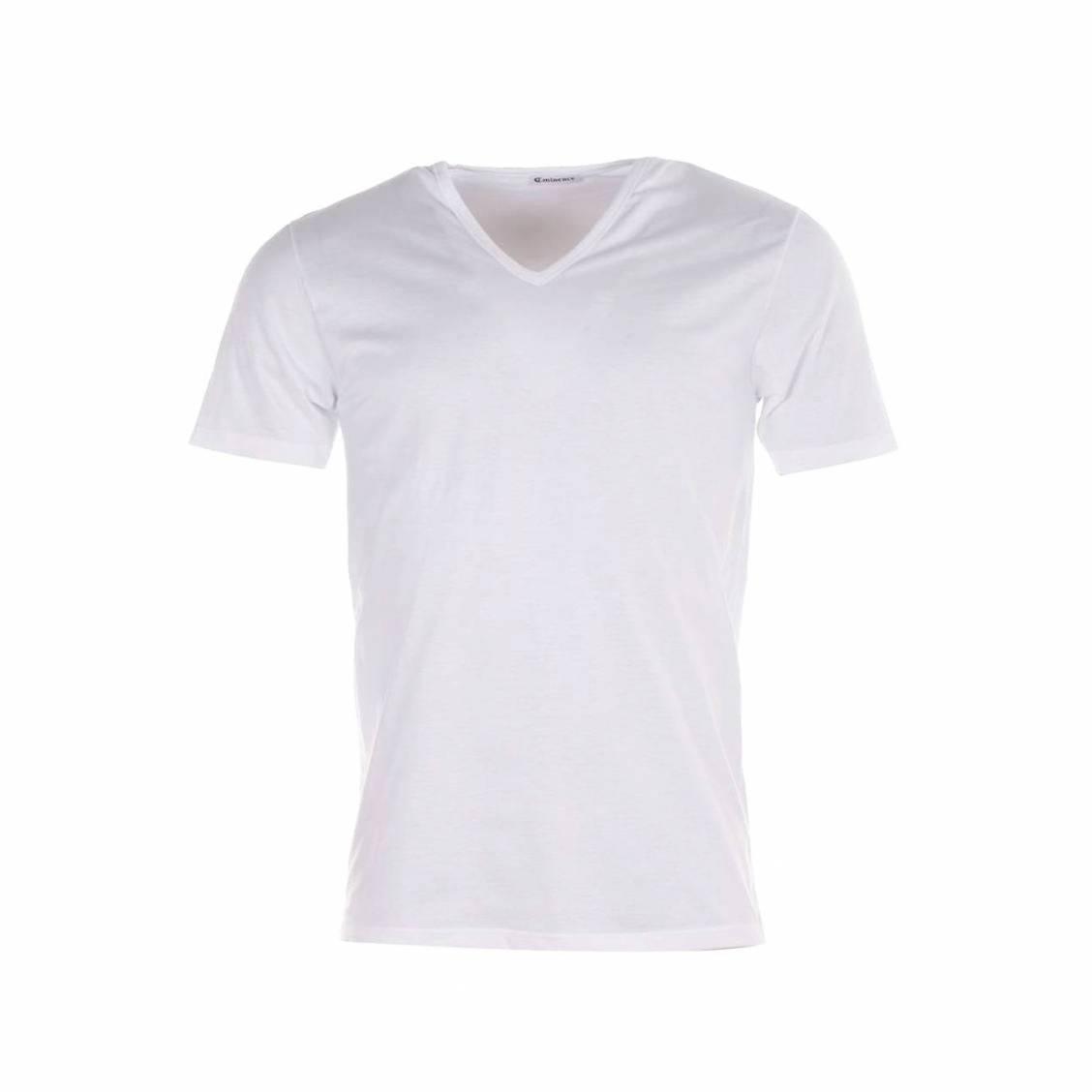 Tee-shirt Luxor Eminence col V blanc, en pur coton d'Egypte hypoallergénique
