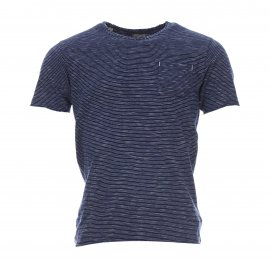 Tee-shirt col rond Heritage Selected à fines rayures blanches et bleu indigo