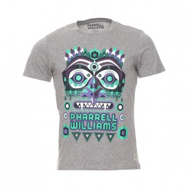 Tee-shirt col rond et manches courtes Pharrell Williams Jack & Jones en coton gris floqué