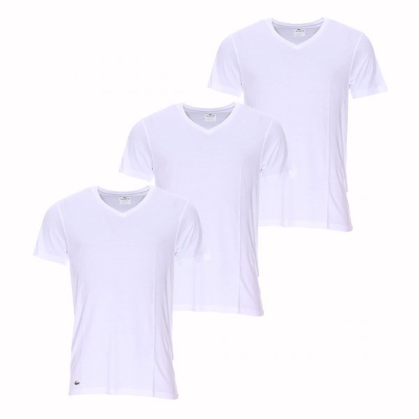 lot de 3 tee shirts col v essentials lacoste 100 coton supima blanc rue des hommes. Black Bedroom Furniture Sets. Home Design Ideas
