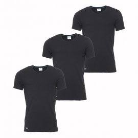 Lot de 3 tee-shirts col V Essentials Lacoste 100% coton supima noir