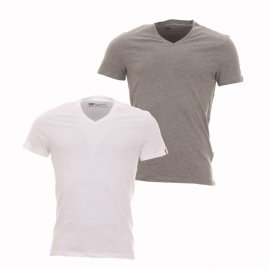 Lot de 2 tee-shirts Levi's Slim Fit V-Neck en coton gris et blanc