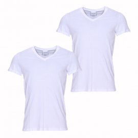 Lot de 2 tee-shirts col V Business HOM en pur coton blanc