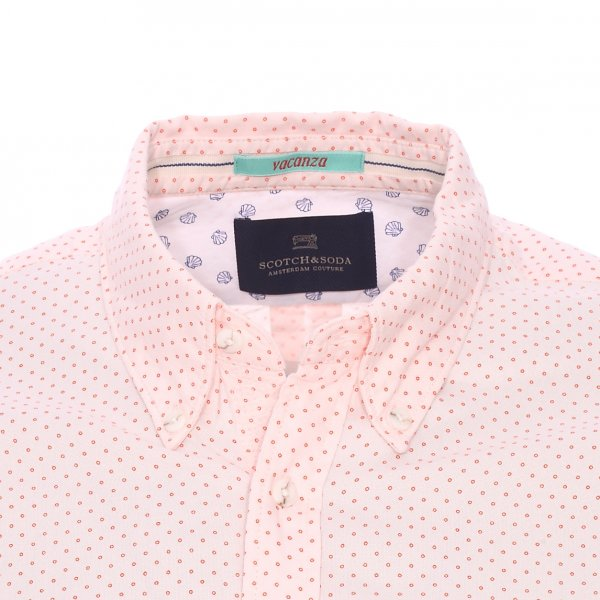 Chemise ajustée Scotch&Soda en coton orange pâle à pois orange