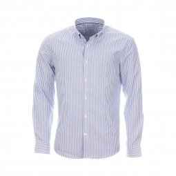 Chemise homme Selected à rayures verticales bleu clair et blanches