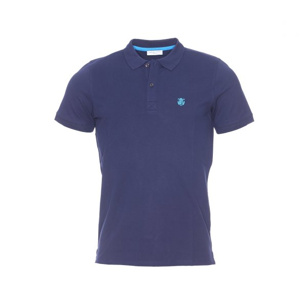 Polo Selected en coton stretch bleu marine, maille piquée