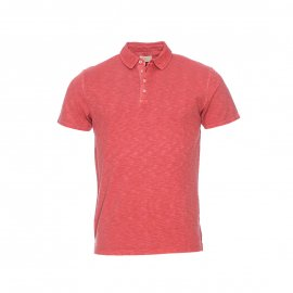 Polo Selected en jersey de coton flammé brique