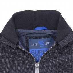 Blouson Harrington Superdry noir à pois blancs