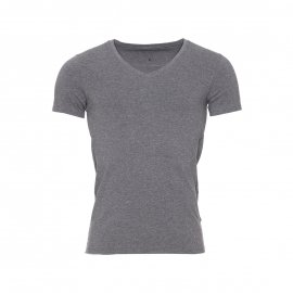 Tee-shirt col V Guess en coton stretch gris chiné