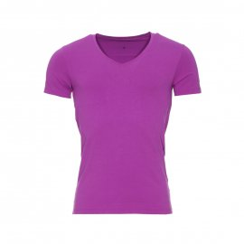 Tee-shirt col V Guess en coton stretch mauve