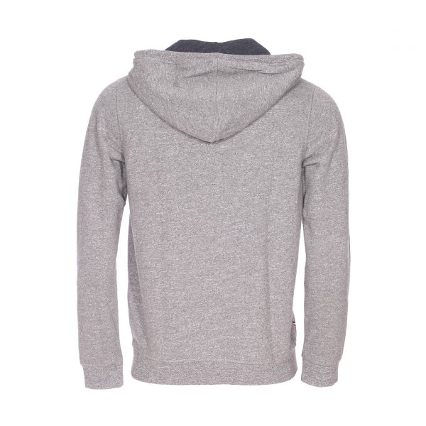 Sweat zippé à capuche Hilfiger Denim gris chiné
