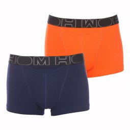 Lot de 2 boxers ouverts HO1 HOM en coton stretch bleu marine et orange