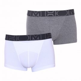 Lot de 2 boxers HO1 HOM ouverts en coton stretch blanc et gris chiné