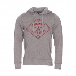 Sweat à capuche Jack & Jones en coton melangé gris chiné floqué en bordeaux