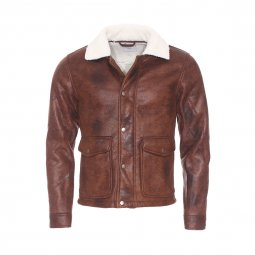 Blouson Brixton Minimum en simili cuir marron à col en fourrure