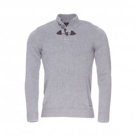 Pull col boutonné Parbour Teddy Smith en coton gris chiné