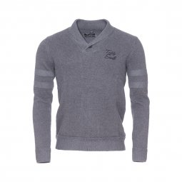 Pull col châle boutonné Puro Teddy Smith gris anthracite chiné