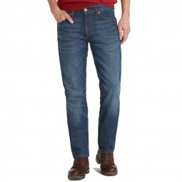 Jean droit Greensboro Wrangler madness bleu denim patiné