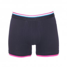 Boxer long Eden Park en coton stretch bleu marine à bordures colorées