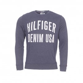 Sweat col rond Hilfiger Denim en coton bleu denim imprimé
