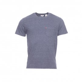 Tee-shirt col rond Levi's Set in Sunset Pocket bleu grisé à poche poitrine