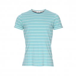 Tee-shirt col rond Minimum en coton turquoise à rayures blanches