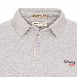 Polo Ps James Schott NYC en maille piquée gris chiné
