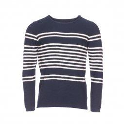 443fc81758993 Pull col rond Selected en mailles tricotées bleu marine à rayures crème ...