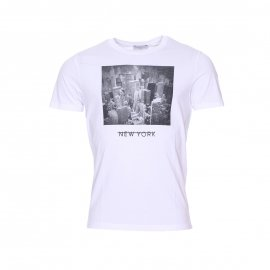 Tee-shirt col rond Selected blanc imprimé d'une photo de