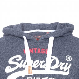 Sweat à capuche Superdry bleu jean chiné