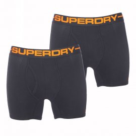 Lot de 2 boxers longs et ouverts Superdry en coton stretch noir brodé Superdry en orange
