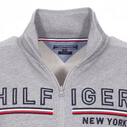 Sweat zippé Tommy Hilfiger gris chiné brodé Hilfiger New York
