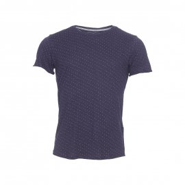Tee-shirt col rond Tom Tailor en coton flammé bleu marine à points beiges
